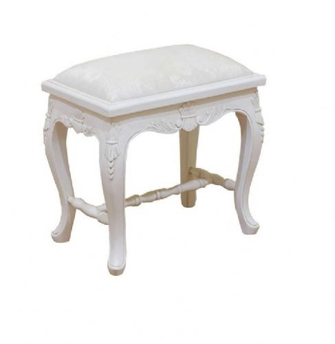 Elegant Carved Stool in Antique White